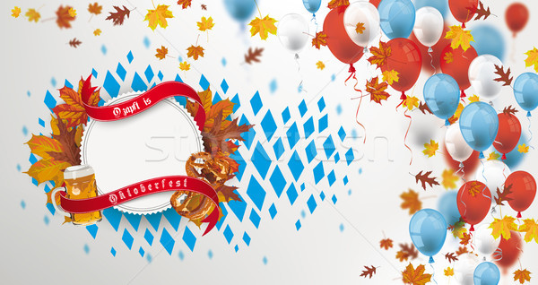 Balloons Emblem Beer Pretzel Oktoberfest Header Foliage Stock photo © limbi007