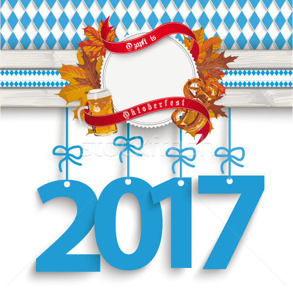Bavarian Oktoberfest Wooden Plank Foliage Blue 2017 Stock photo © limbi007