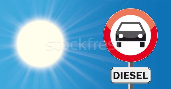 Güneş mavi gökyüzü imzalamak dizel araba Stok fotoğraf © limbi007
