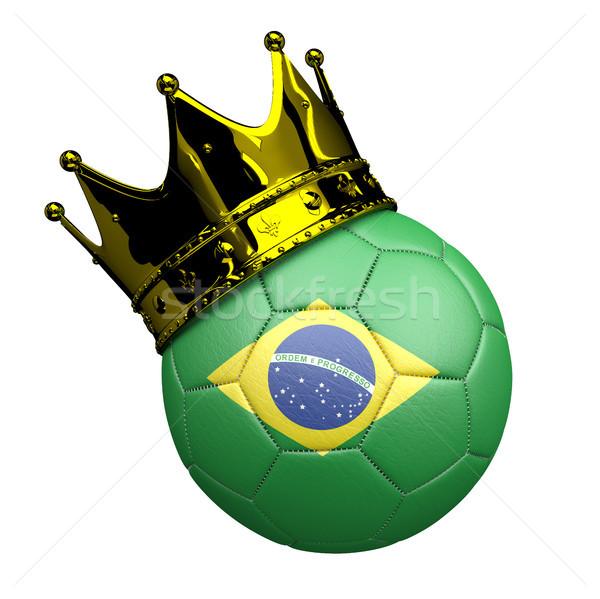 футбола Бразилия корона флаг белый Сток-фото © limbi007