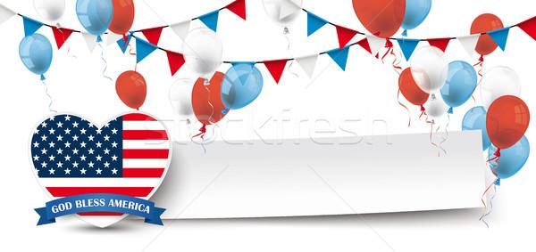 Paper Banner Buntings Balloons USA Heart Stock photo © limbi007