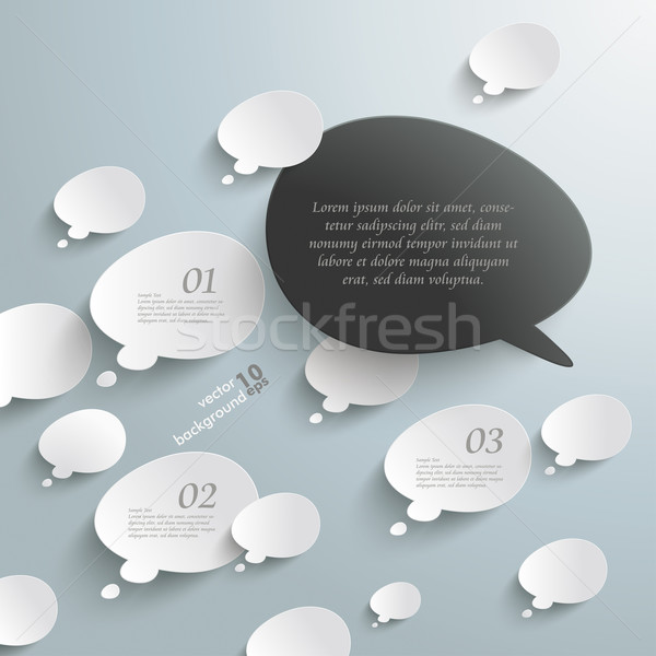 Stock photo: Bevel Speech And Thought Bubbles Black Opposing View