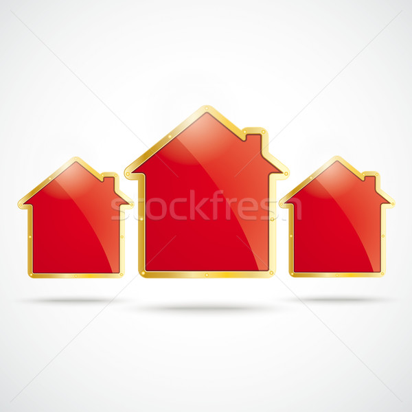 Drei golden Häuser Haus weiß Stock foto © limbi007