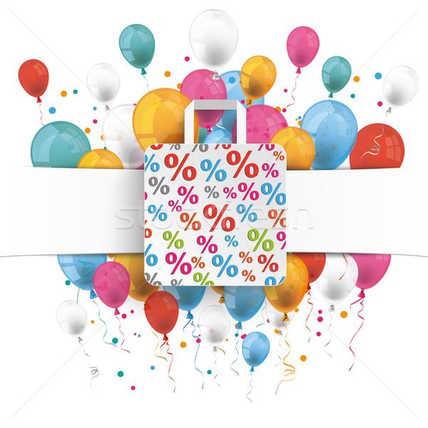 Bannière pourcentage panier ballons blanche papier Photo stock © limbi007