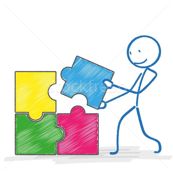 Téglalap puzzle fehér eps 10 vektor Stock fotó © limbi007