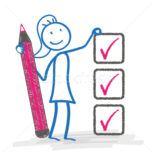 Stickwoman Checklist Stock photo © limbi007