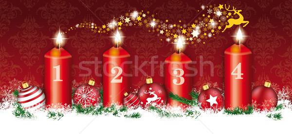 Christmas Header Card Red Ornaments 4 Candles Reindeer Stardust Stock photo © limbi007