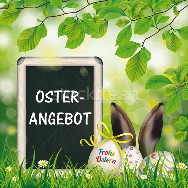 Easter Eggs Blackboard Hare Ears Beech Osterangebot Stock photo © limbi007