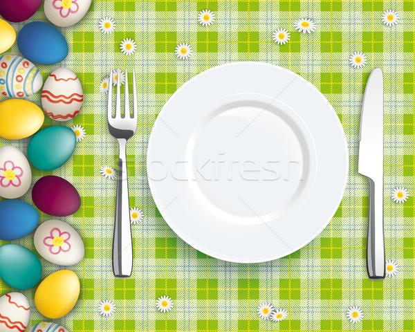 Easter Eggs Green Picnic Blanket Plate Spoon Knife Fork Stock photo © limbi007
