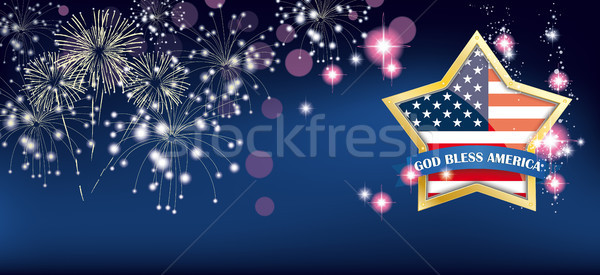 God Bless America Golden Star Fireworks Header Stock photo © limbi007
