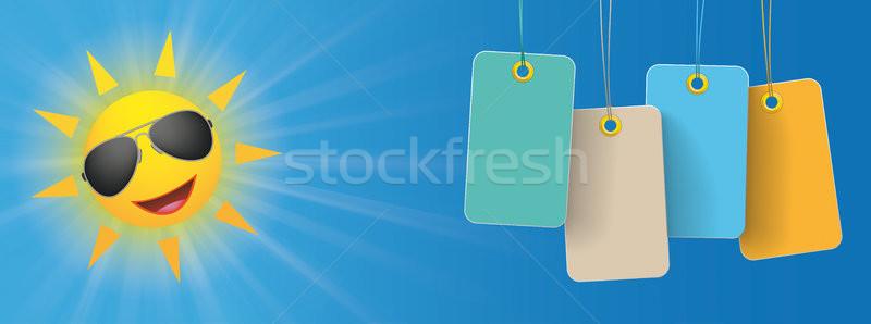 Sun Sunglasses Colored Price Stickers Header Stock photo © limbi007