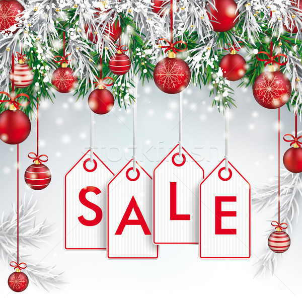 Christmas Frozen Green Fir Twigs Red Baubles Price Stickers Sale Stock photo © limbi007