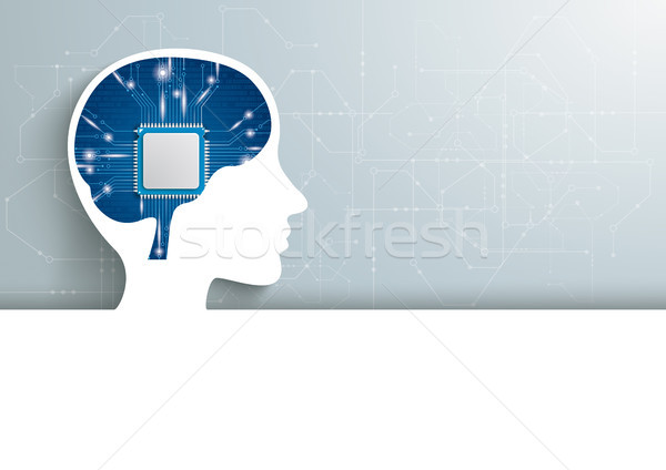 Human Head Microchip Brain Header Stock photo © limbi007