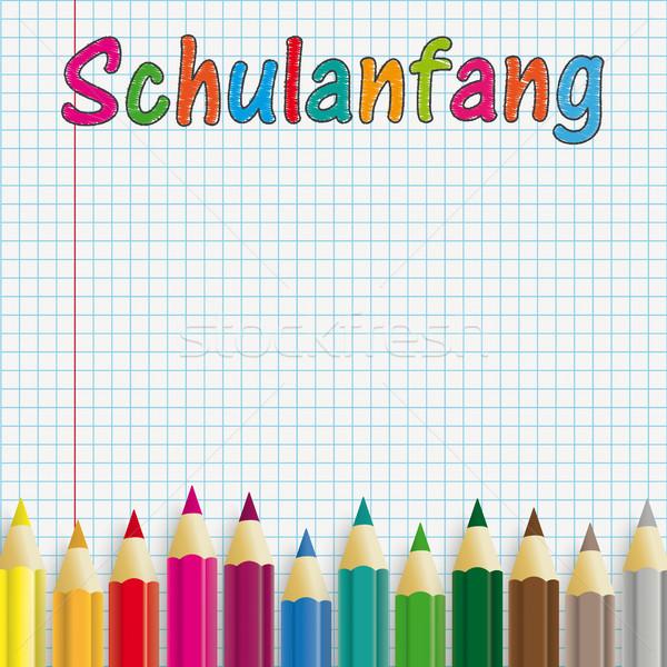 ручках бумаги текста Снова в школу прибыль на акцию Сток-фото © limbi007
