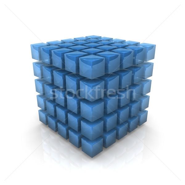 Azul transparente cubo branco edifício Foto stock © limbi007