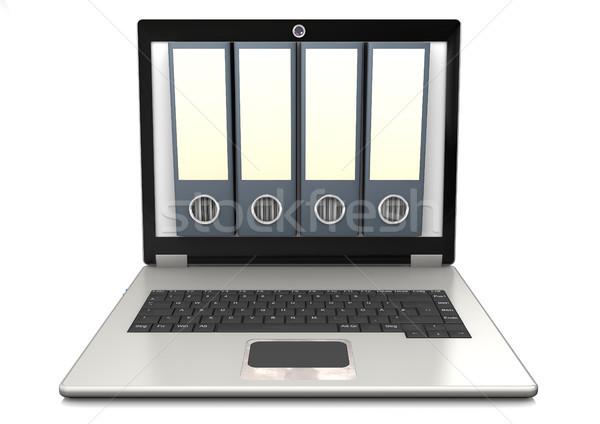 Notebook négy mappák fehér internet laptop Stock fotó © limbi007
