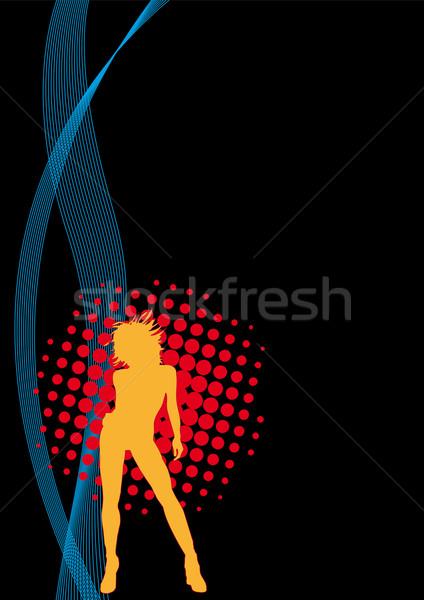 Turuncu kız uçan poster ev disko Stok fotoğraf © limbi007