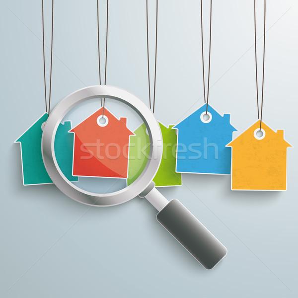 5 Colored Price Sticker Houses Loupe Stock photo © limbi007