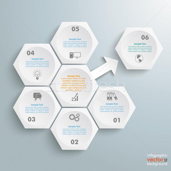 6 White Hexagons 1 Arrow Outsource Stock photo © limbi007