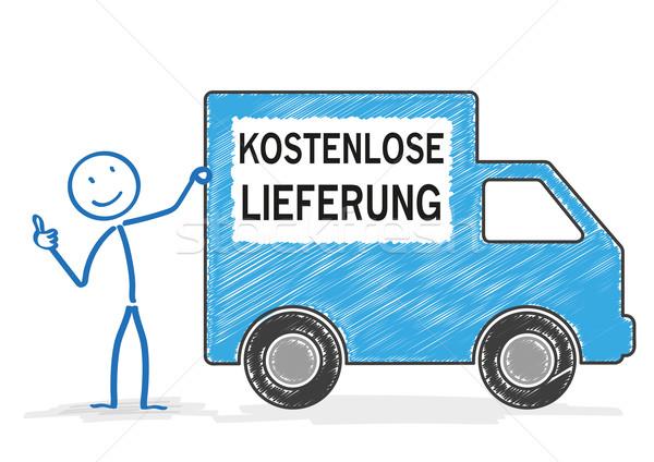 Szállítás autó szabad szállítmány fehér szöveg Stock fotó © limbi007