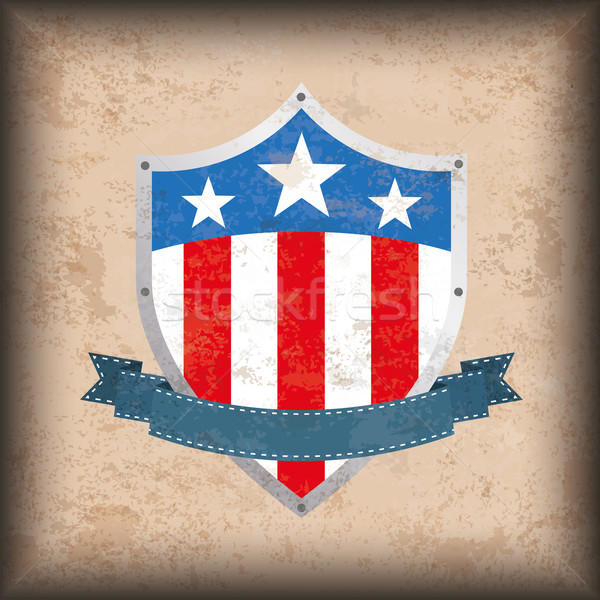 Vintage Background US Flag Shield Stock photo © limbi007