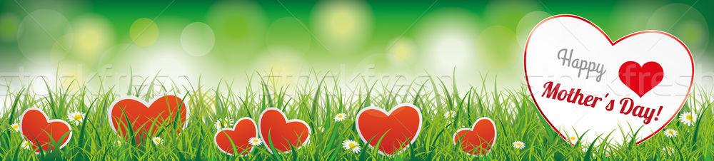 Spring Background Header Grass Happy Mothersday Stock photo © limbi007