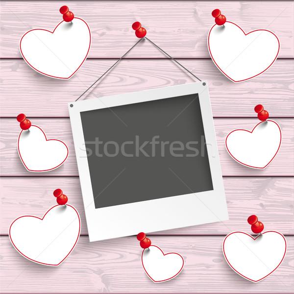 Azonnali fényképkeret akasztás szívek rózsaszín fa Stock fotó © limbi007