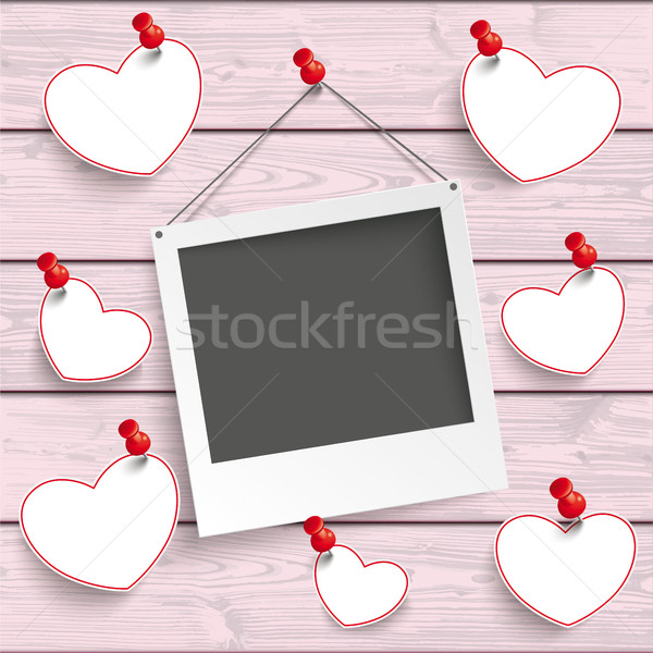 Instant Photo Frame Hanging Hearts Pink Wood Stock photo © limbi007