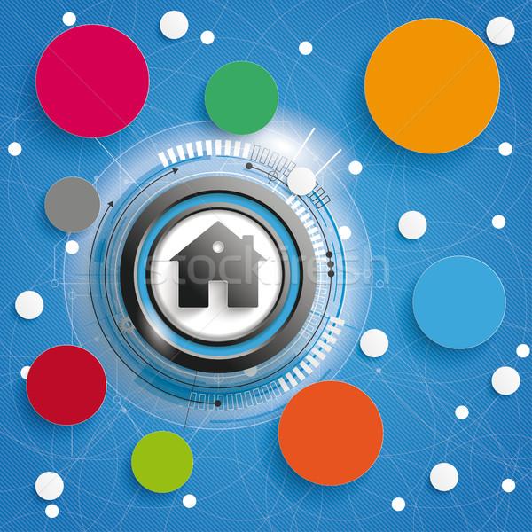 Smart Home Circle Networks Blue Blue Background Stock photo © limbi007