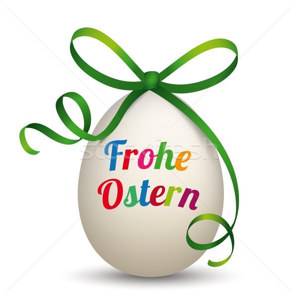 Natural Egg Green Ribbon Frohe Ostern Stock photo © limbi007