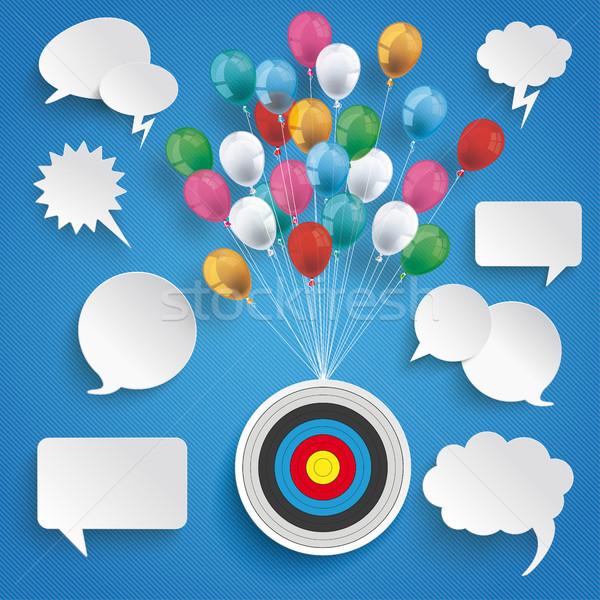 Paper Clouds Striped Blue Sky Balloons Speech Bubbles Stock photo © limbi007