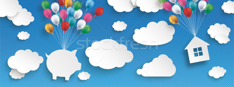 Paper Clouds Striped Blue Sky Balloons Piggy Bank House Header Stock photo © limbi007
