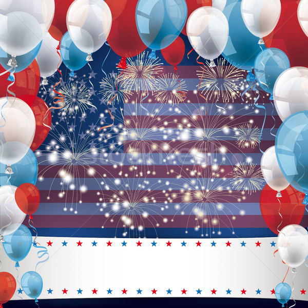 US Flag Fireworks Balloons Banner Stock photo © limbi007