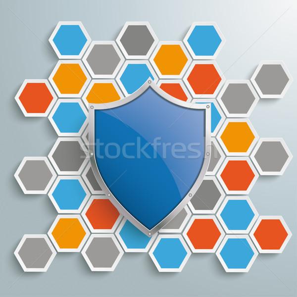 Gekleurd honingraat bescherming schild structuur Stockfoto © limbi007