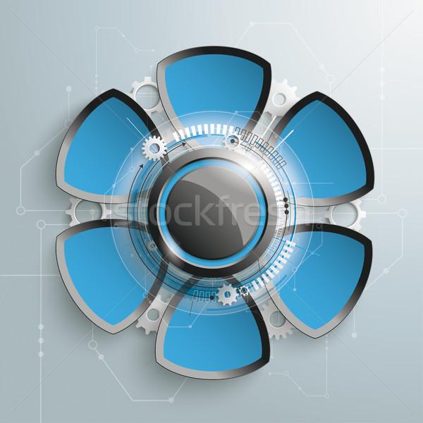 6 Round Triangles Industry Infographic Stock photo © limbi007