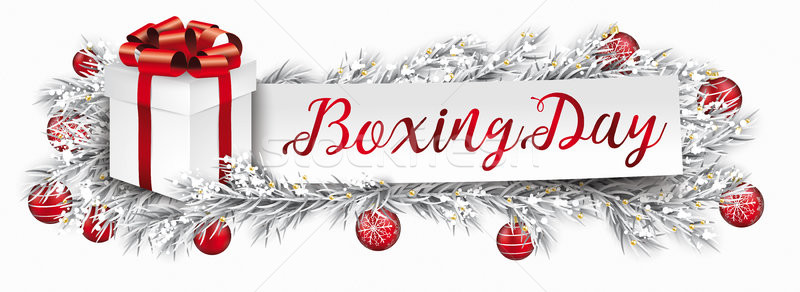 Banner Red Christmas Baubles Gift Frozen Twigs Boxing Day Stock photo © limbi007