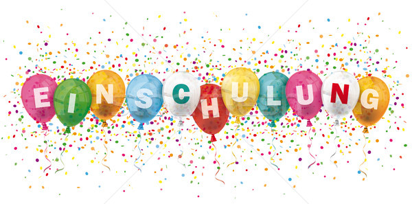 Einschulung Header Colored Balloons Confetti Explosion Stock photo © limbi007