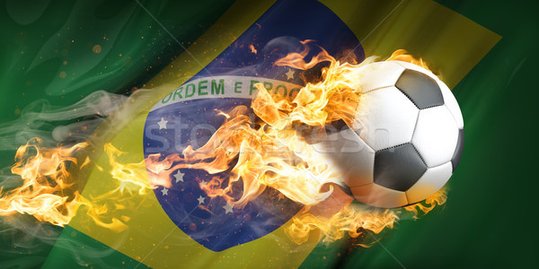 сжигание футбола Бразилия флаг огня спортивных Сток-фото © limbi007