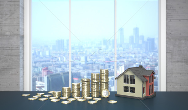 House Euro Coins Growth Chart Stock photo © limbi007