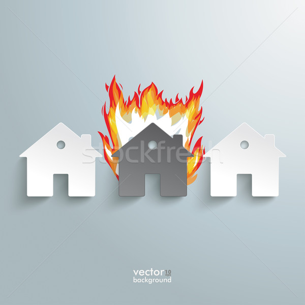 Three Paper Houses Fire Stock photo © limbi007