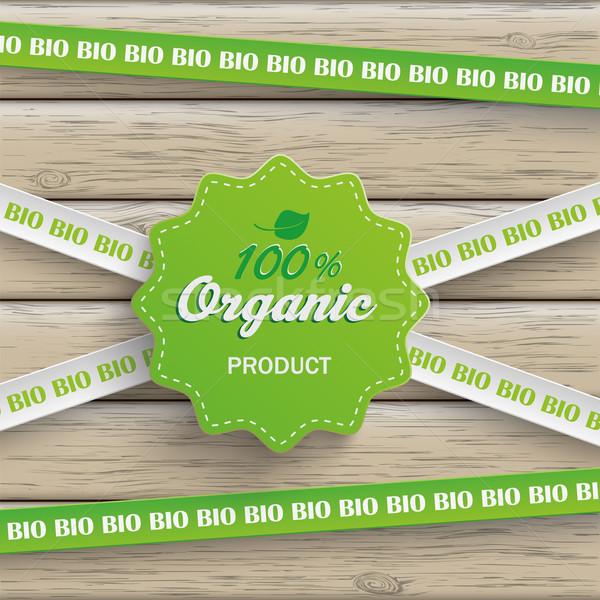 Bio etiqueta líneas 100 orgánico madera Foto stock © limbi007