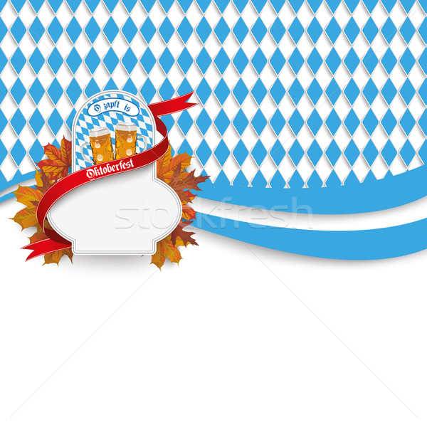 Oktoberfest Flyer Emblem Flag Beer Foliage Stock photo © limbi007