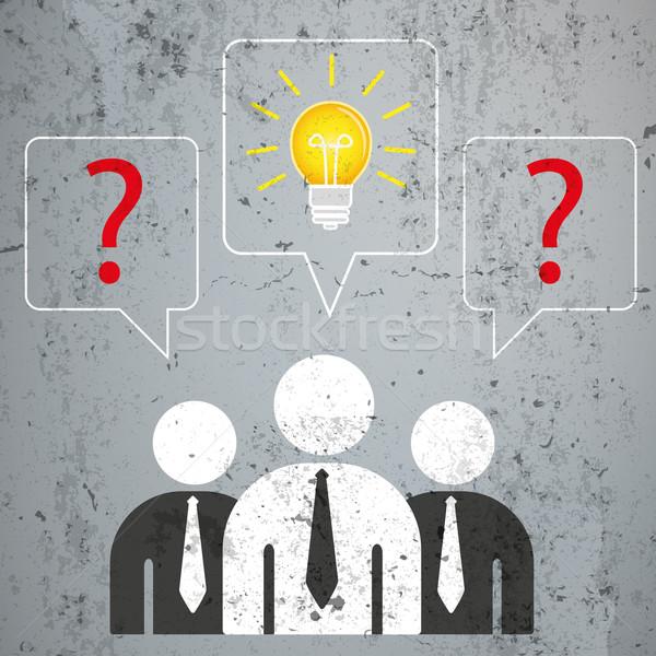 ストックフォト: ビジネスマン · 吹き出し · 質問 · ソリューション · 具体的な · eps