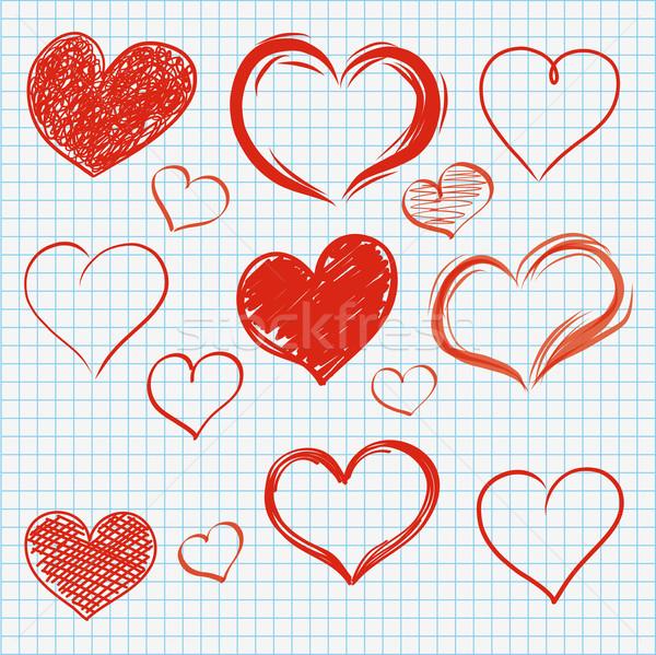 Checked Paper Handdrawn Hearts Set Stock photo © limbi007