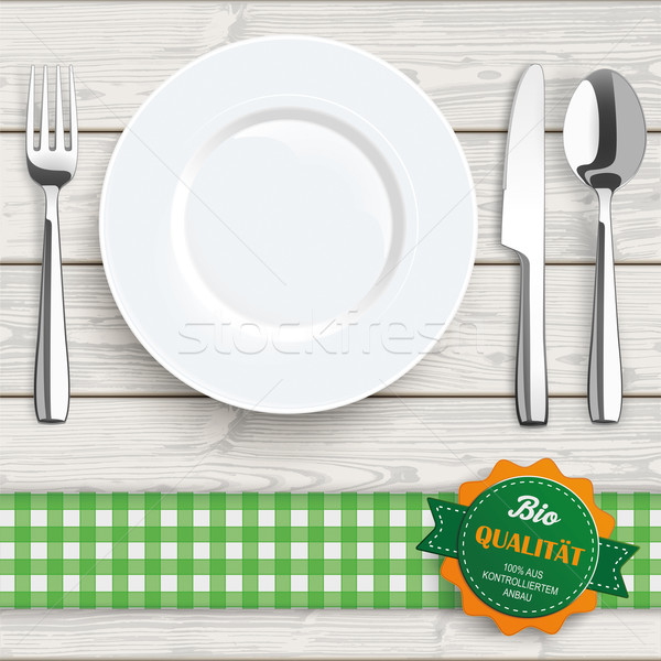 Stock photo: Wood Cloth Knife Fork Spoon Plate Bio Qualitaet