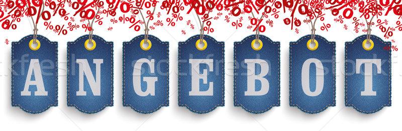 Stockfoto: Klassiek · bieden · jeans · prijs · stickers · tekst