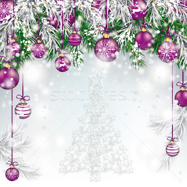 Christmas Tree White Stars Twigs Purple Baubles  Stock photo © limbi007