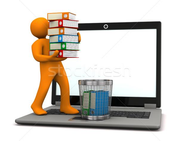 Manikin Folders Wastebasket Stock photo © limbi007