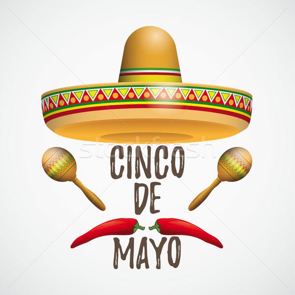 Sombrero Cinco De Mayo Chili Maracas Stock photo © limbi007