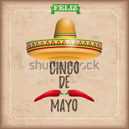 Sombrero Cinco De Mayo Chili Vintage Frame Cocktails Stock photo © limbi007